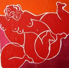 2009 Femmedouble Estampe bois sur BFK Rives 50x50 cm