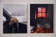 jpg montre deux tirages pigmentaires sur papier satiné 290g, contrecollé sur du carton mousse. Dyptique issu de la série «L'Étoi