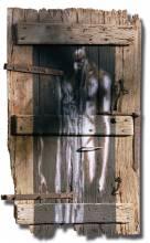 """""""Gorée"""", pigments à l'huile sur porte sapin, 79x128cm, 2002."""