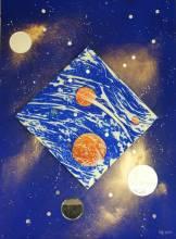 ELFI Reflexion  Cosmique n°4,Techn  mixte  sur bois et toile,format 075x100,2013