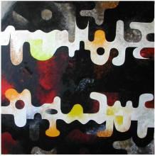 labyrinthe de pensées  - huile 100x100 -  2009