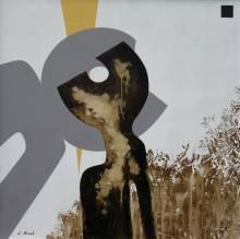 RIVAL - Titre - Le Baiser - Goudron et Acrylique - 100 x 100 cm sur toile - 2012