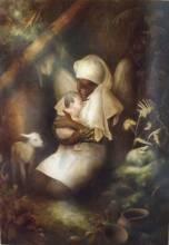 L'ange gardien, sur toile de lin enchâssée, peinture en technique mixte  116X81