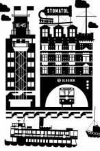 """""""Slussen"""" Motif textile sur torchon de cuisine pour Alhens - Dessin Vectoriel - 70 x 47 - 2013"""